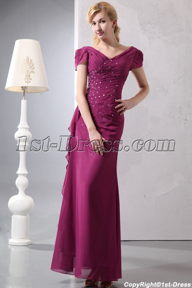 Fuchsia V-neckline Plus Size Evening Dress with Cap Sleeves:1st ...