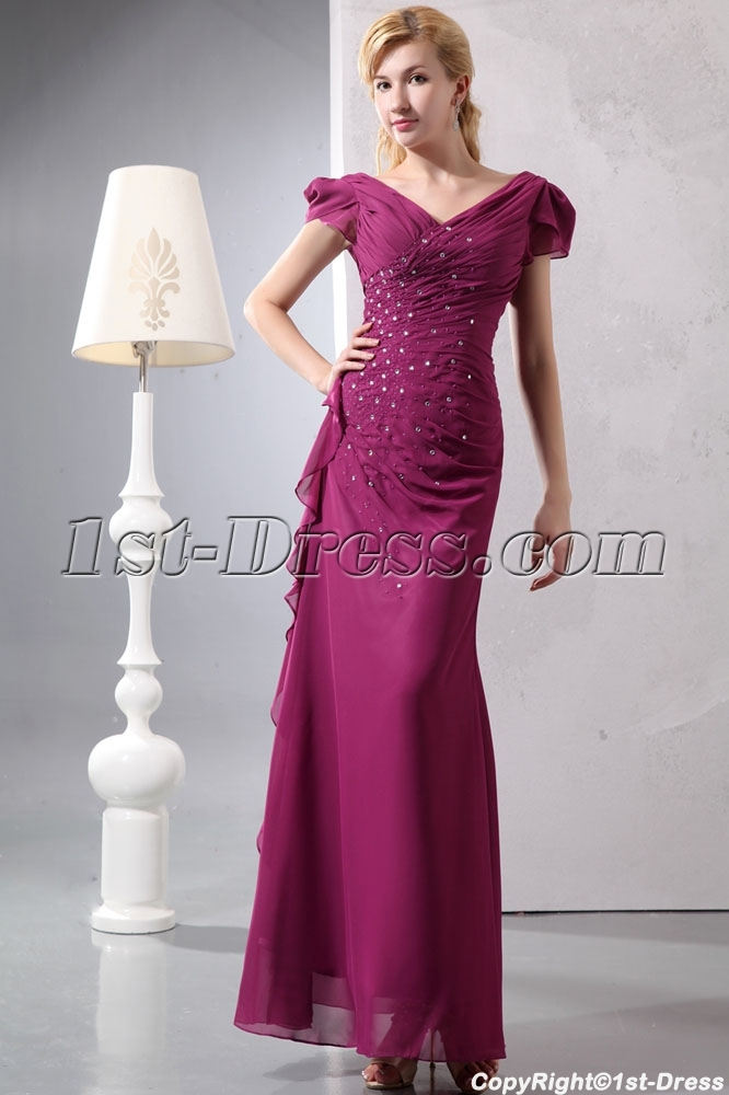 Fuchsia V Neckline Plus Size Evening Dress With Cap Sleeves1st