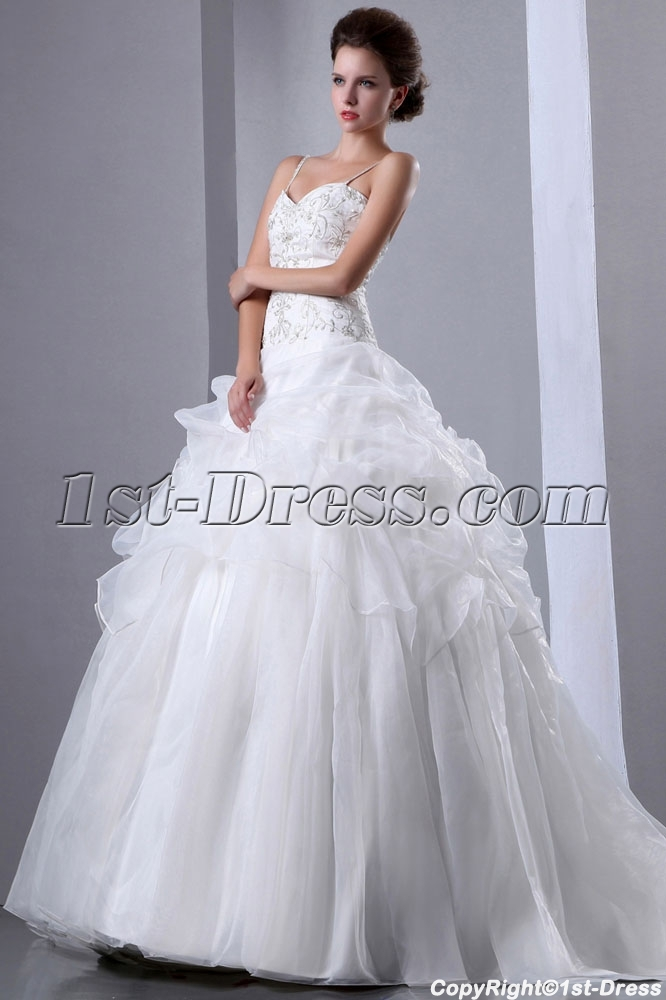 Gold Embroidered Pick Up Ball Gown Wedding Dress Loading Zoom