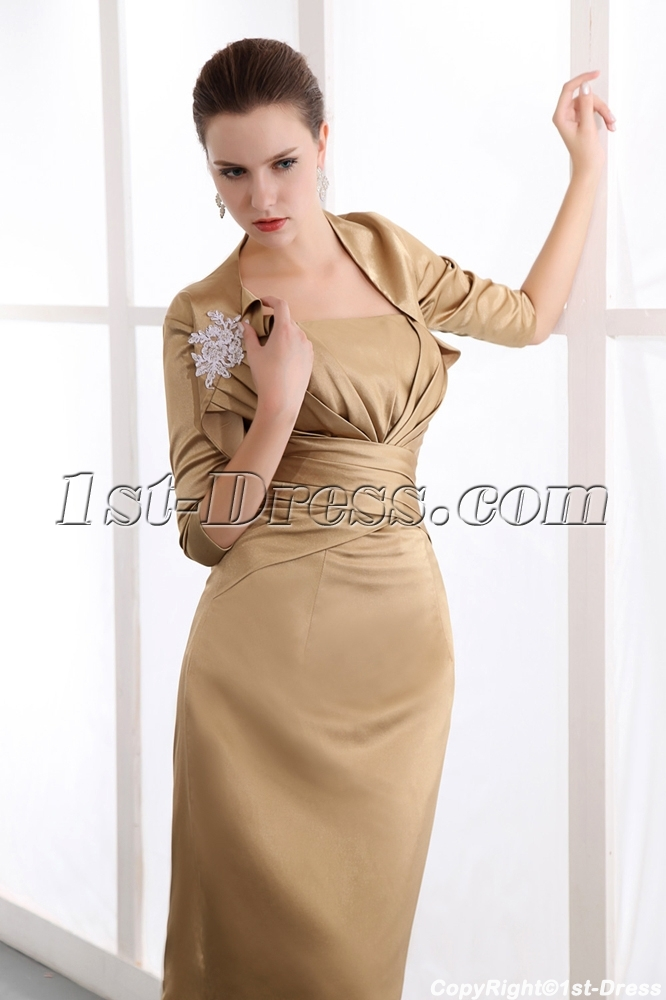 Golden brown Column Mother of Bride Dress with Middle Sleeves Jacket