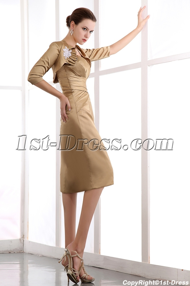 4b86ccc05a Golden brown Column Mother of Bride Dress with Middle Sleeves Jacket 1st- dress.com