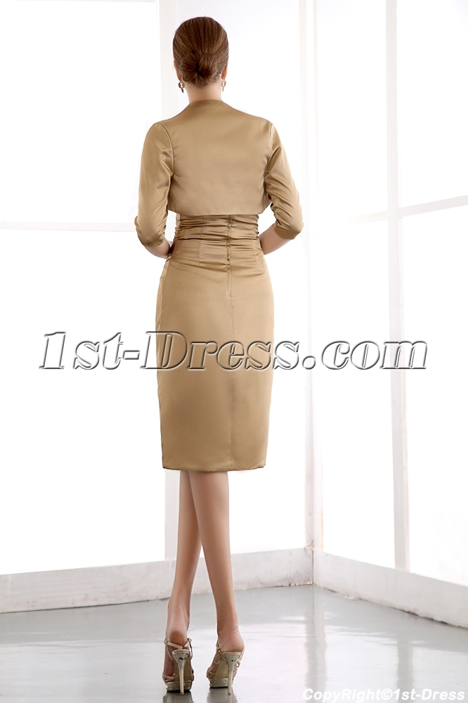 d78947b7af prev  next. Specifications. Product Name  Golden brown Column Mother of Bride  Dress with Middle Sleeves Jacket ...
