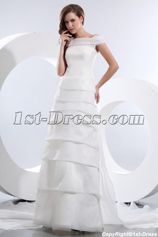 Gorgeous Off Shoulder Wedding Dress Mature Brides:1st-dress.com