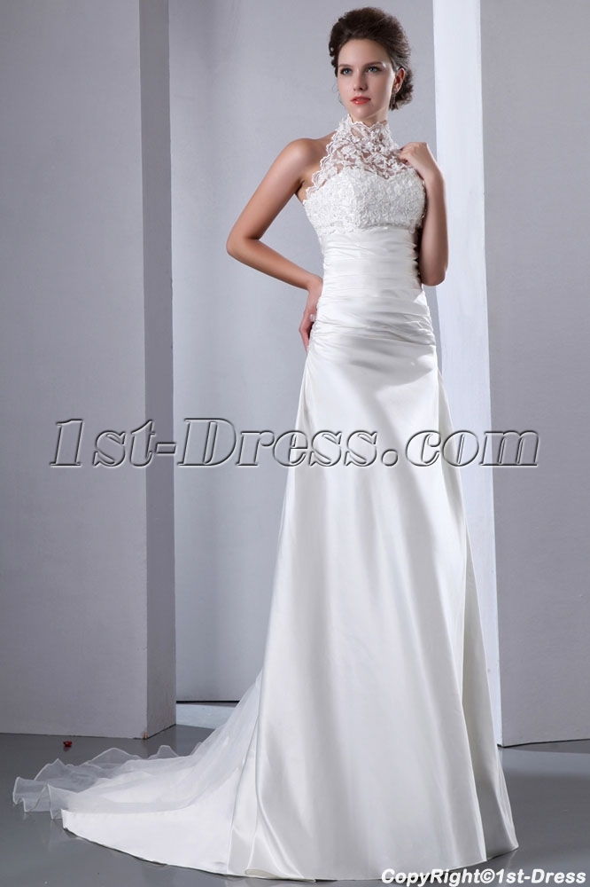 Graceful Lace Illusion High Neckline A-line Wedding Dress:1st-dress.com