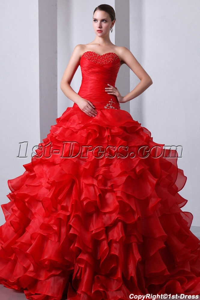 3de773dc9e2 Graceful Red Ruffled Sweetheart Puffy Quinceanera Gown 2014 1st ...