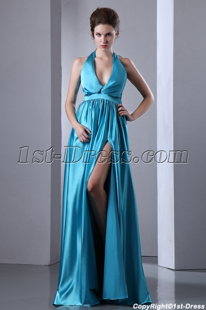 Halter Plunge V-neckline Sexy Long Prom Dress with Slit