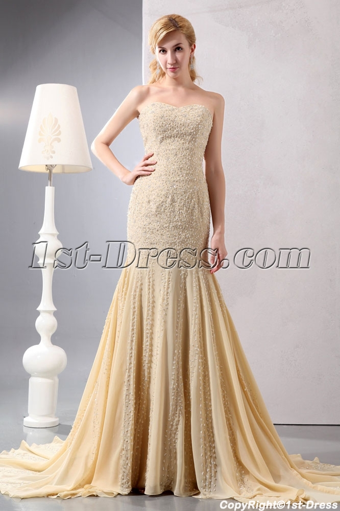 Heavy Beaded Sweetheart Champagne Sheath Engagement Dresses Loading Zoom