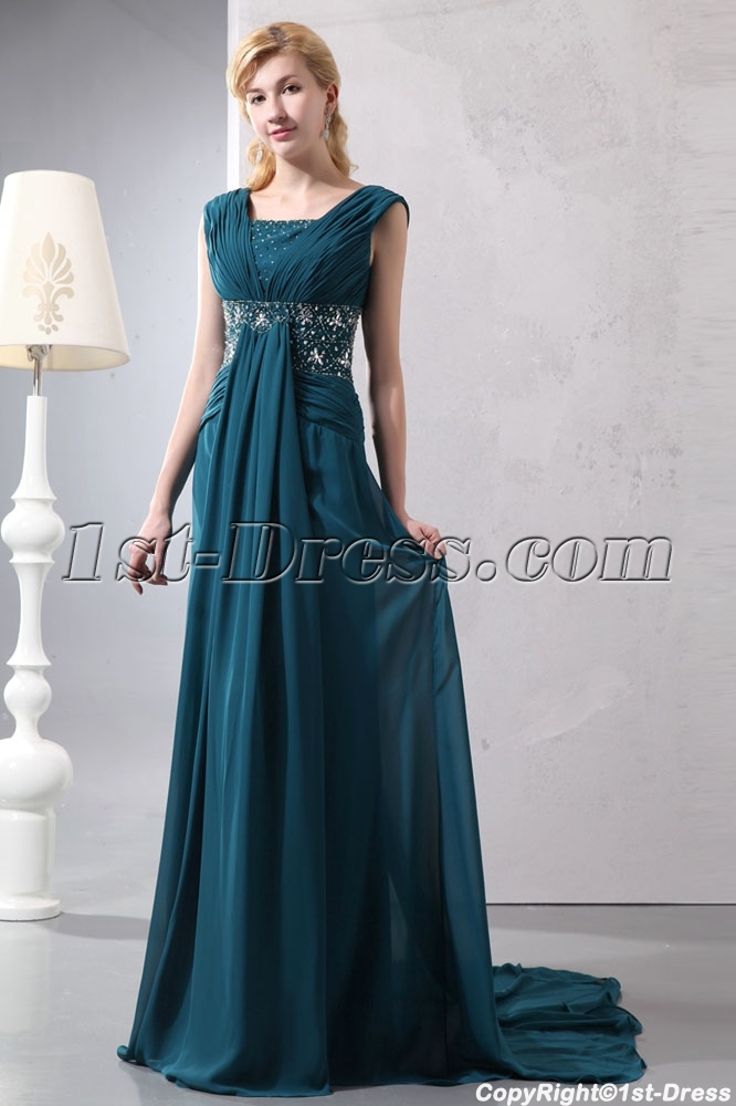 Hunter Green Chiffon V-neckline Plus Size Formal Dress with Train ...