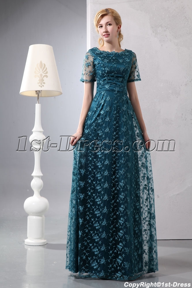 Hunter Green Short Sleeves Lace Mother of Bride Plus Size Dresses ...