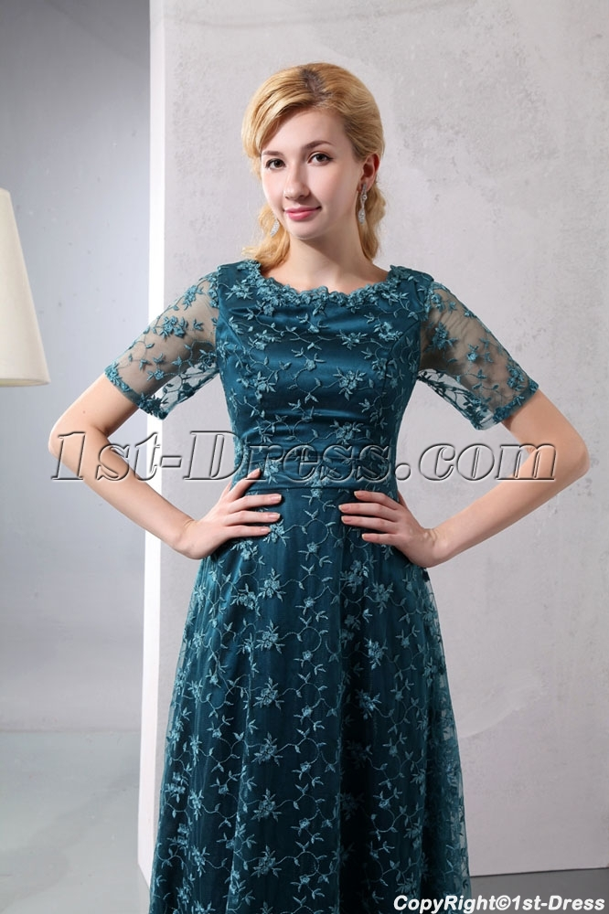 Hunter Green Short Sleeves Lace Mother of Bride Plus Size Dresses