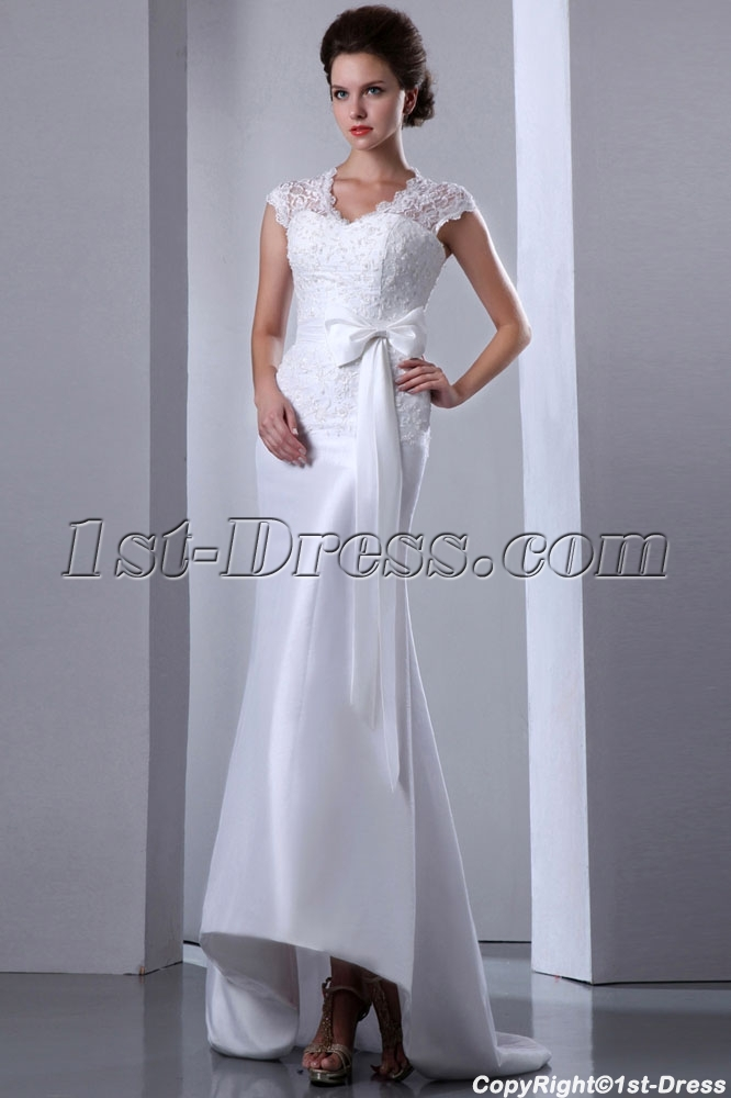Illusion lace sheath bridal gown with cap sleeves 1st for Cap sleeve sheath wedding dress