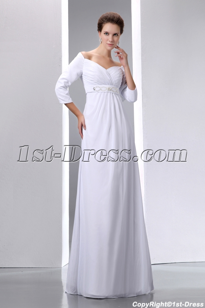 Ivory Chiffon Modest 3/4 Long Sleeves Prom Dress for Plus Size:1st ...