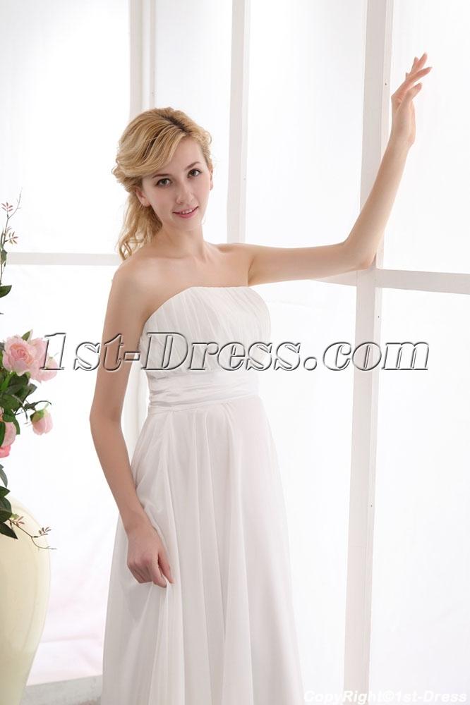 Ivory Strapless Long Chiffon Pregnant Beach Wedding Dresses:1st ...