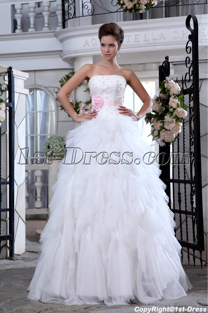 Ivory and Pink Ruffled Strapless Casual Wedding Dresses for Spring ...