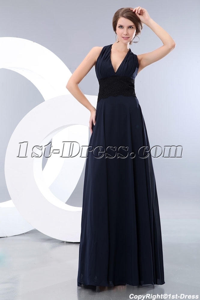 2146bfd7740ff Long Halter Dark Navy Graduation Dress with Black Lace:1st-dress.com