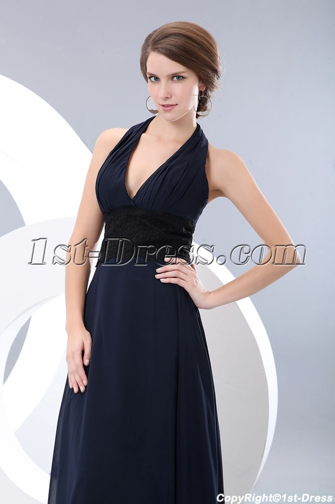 7f3a75bfc4d90 Long Halter Dark Navy Graduation Dress with Black Lace (Free Shipping)