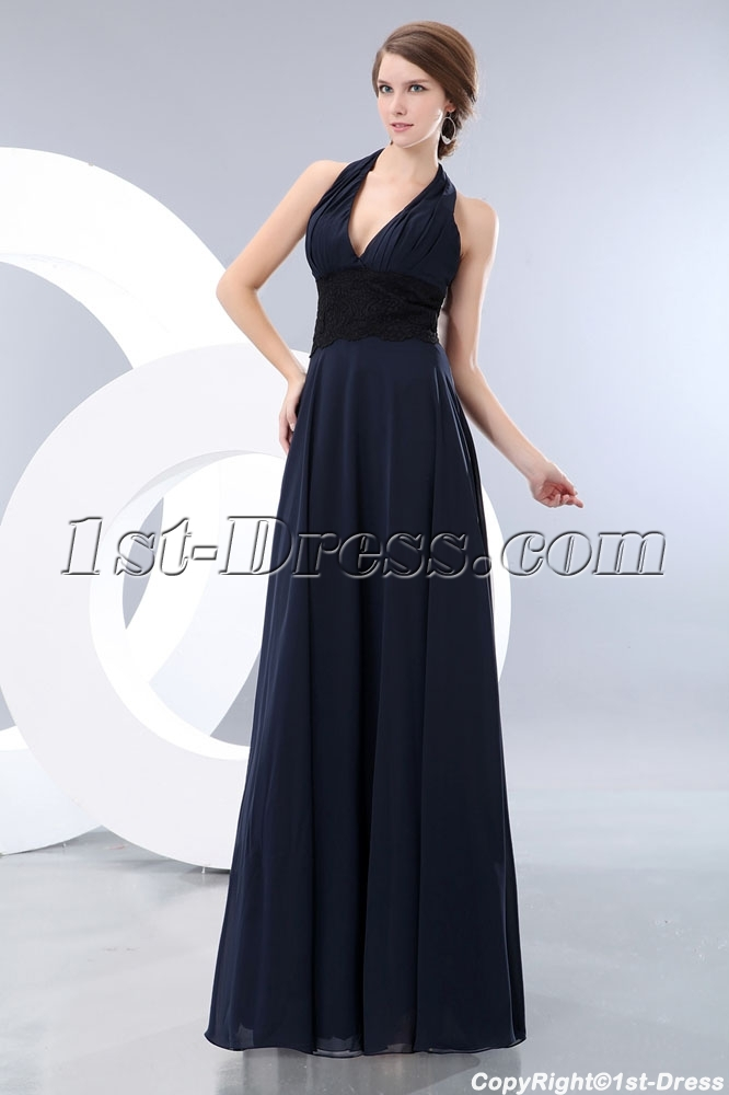 17cbd101c531 prev; next. Specifications. Product Name: Long Halter Dark Navy Graduation  Dress with Black Lace. ltem Code: xl004157. Category: Prom ...