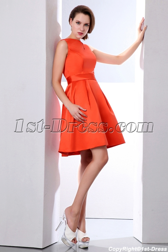 Lovely Bateau Burnt Orange Short Satin Homecoming Dress Loading Zoom