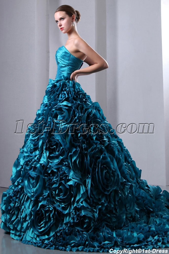 Luxurious teal blue 3d handmade floral bridal gowns 2014 for Teal dress for wedding