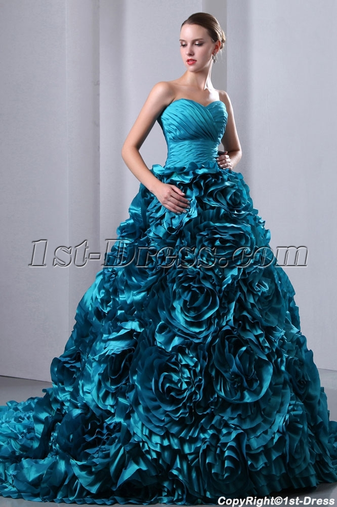 Luxurious Teal Blue 3D Handmade Floral Bridal Gowns 2014 with Sweetheart  1st-dress.com a54285d86