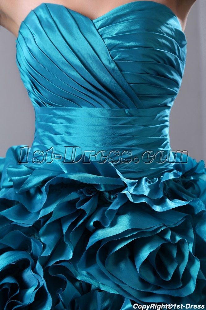 prev  next. Specifications. Product Name  Luxurious Teal Blue 3D Handmade  Floral Bridal Gowns 2014 with Sweetheart ... 52bec80ed