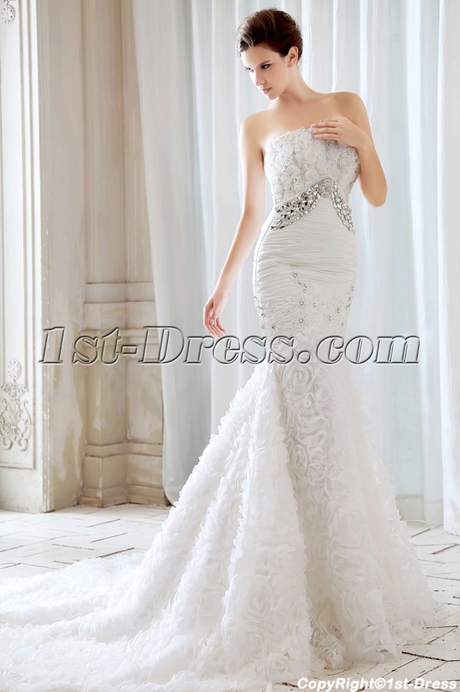 Mermaid Style Wedding Dress.Luxury Strapless Flowers Mermaid Style Wedding Dresses With Train 345 00
