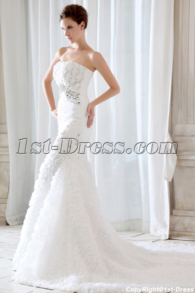 Flowers Mermaid Style Wedding Dresses