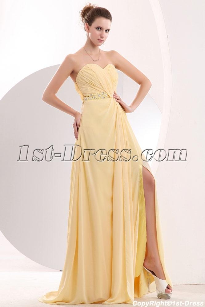 Maize Long Sweetheart Plus Size Prom Dresses with Slit:1st-dress.com