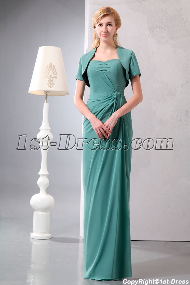bb1f82e504 35 Modest 2 Pieces Sage Chiffon Long Mother of Groom Dress with Short Jacket