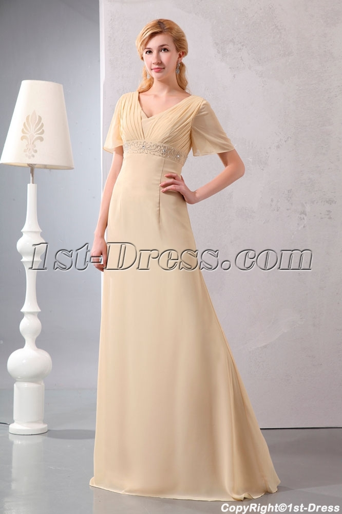Modest Champagne Chiffon Long Formal Dresses With Sleeves1st Dress