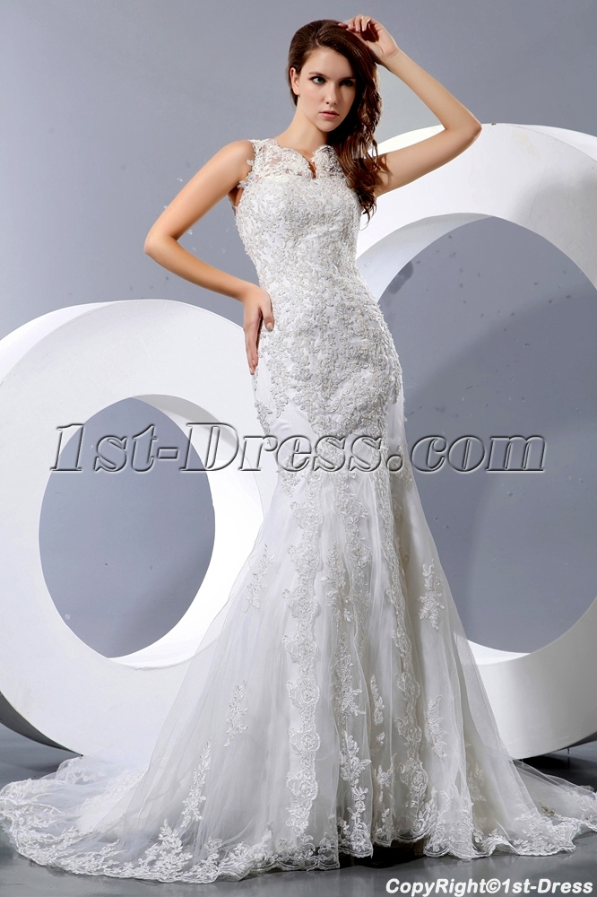modest lace sheath bridal gowns with buttons 1st