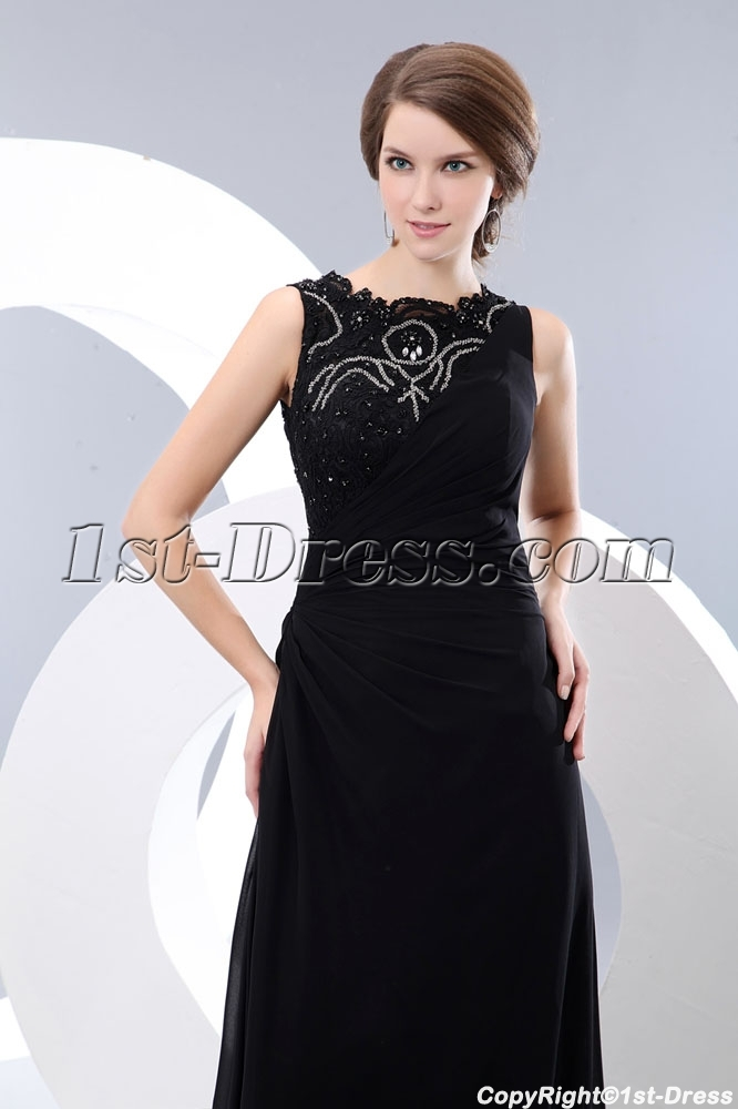 Modest Long Lace Black Formal Evening Party Dress:1st-dress.com