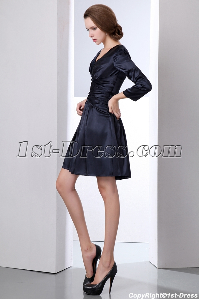 Modest Navy Blue Long Sleeves Short Mother Of Groom Dress Loading Zoom