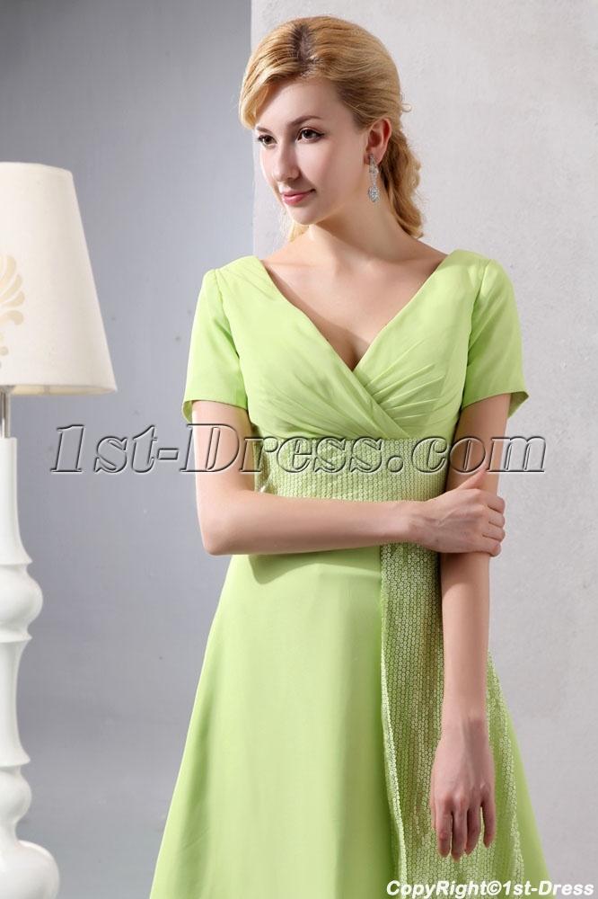 Modest Sage Chiffon Short Prom Dress with Short Sleeves:1st-dress.com