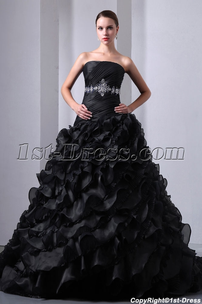 New Pretty Ruffled Layers Gothic Black Wedding Dress 1st