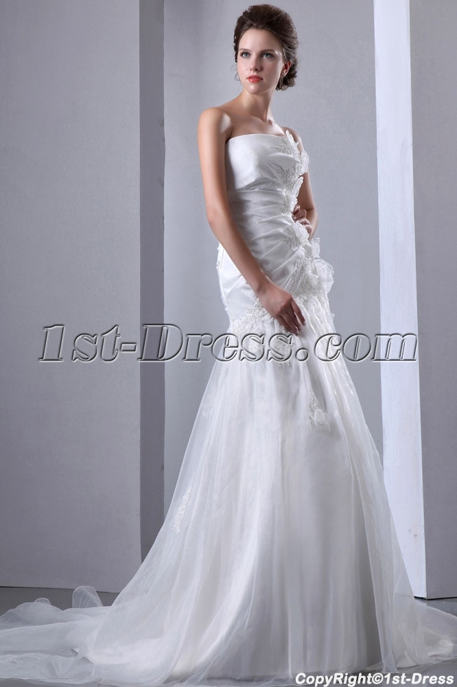 Organza Dropped Waist Strapless Wedding Gown Cheap With Flowers 1st