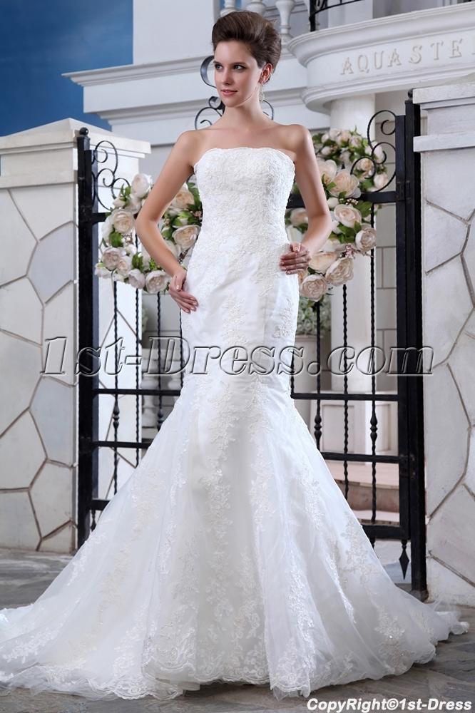 Organza Modern Trumpet Style Lace Wedding Gowns:1st-dress.com