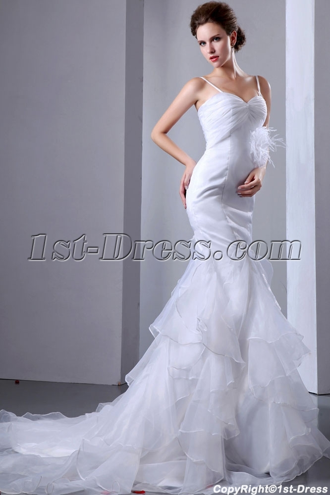 Organza Ostrich Feathers Fishtail Bridal Gown:1st-dress.com