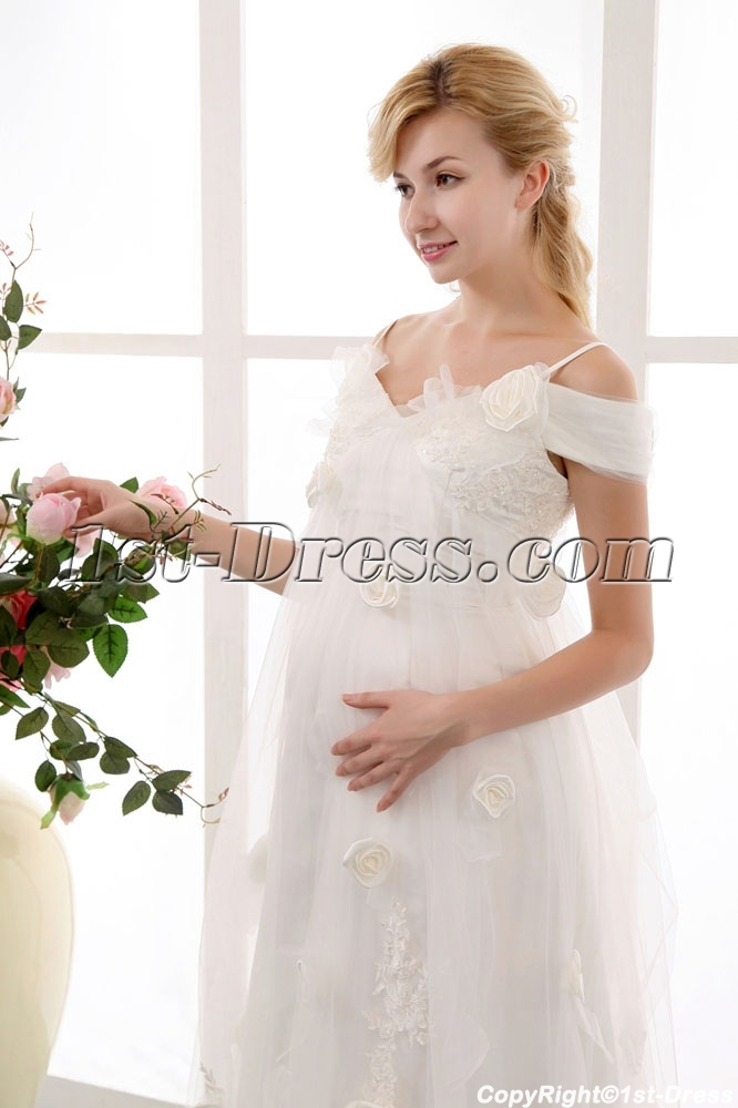 Pretty affordable off shoulder maternity wedding dresses for Inexpensive maternity wedding dresses