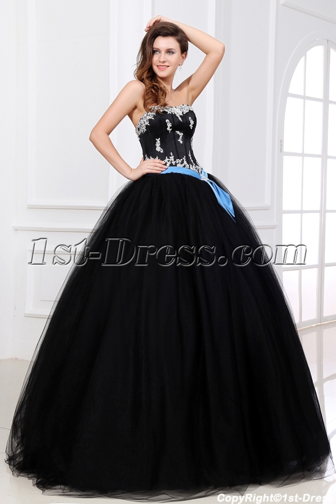 Pretty Black And Blue Colorful Ball Gown Dress Loading Zoom