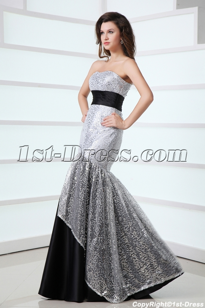 Pretty Black and Silver Mermaid Masquerade Party Dress:1st-dress.com