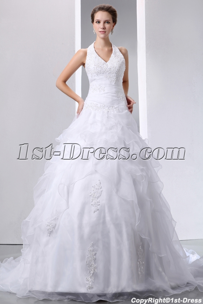 Pretty Halter Beaded Lace Ball Gown Wedding Dress With Lace Up1st