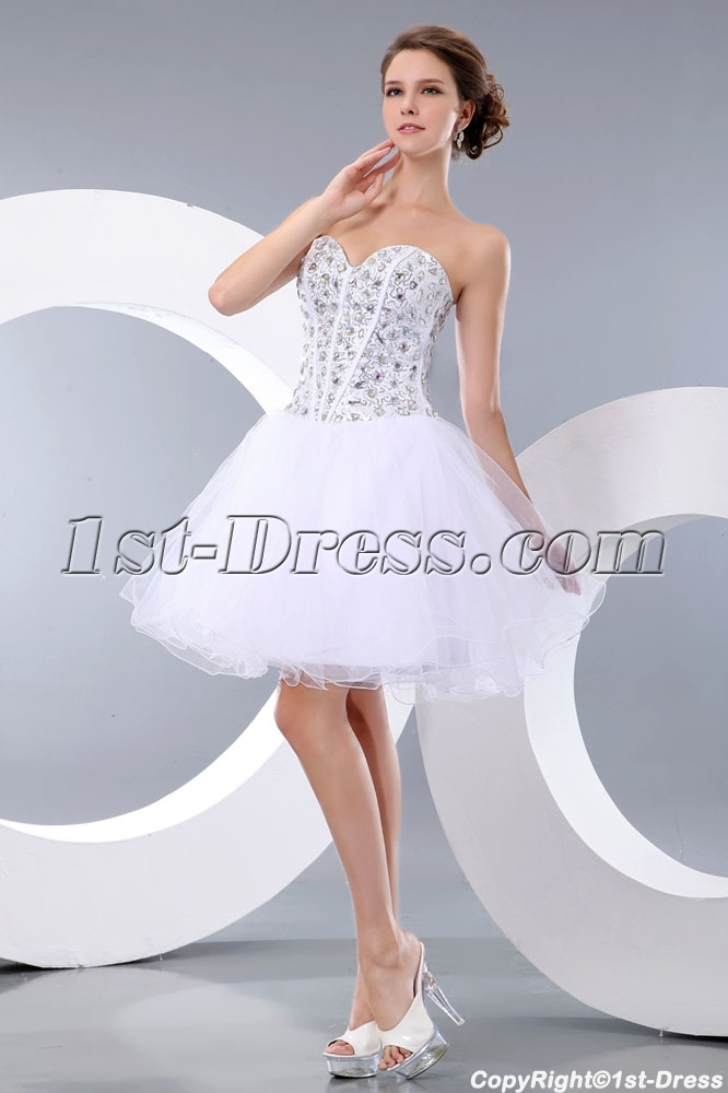 cf99b72481d0 prev; next. Specifications. Product Name: Pretty Jeweled White Puffy  Sweetheart Cocktail Dress. ltem Code: xl004164. Category: Prom Dresses>Cocktail  Dresses