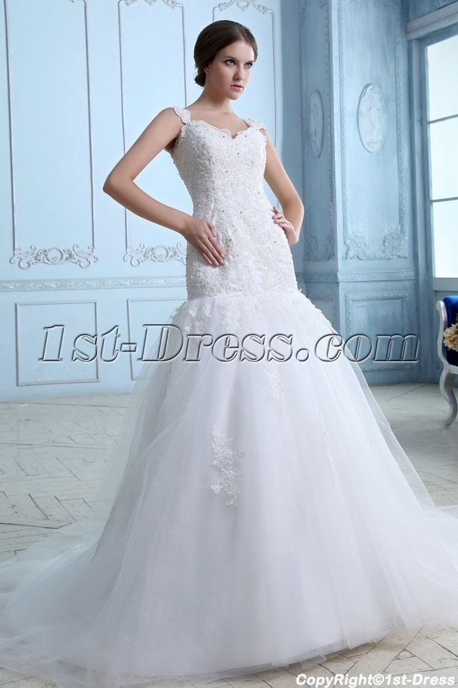 Pretty lace princess mermaid bridal gowns 1st for Princess mermaid wedding dresses