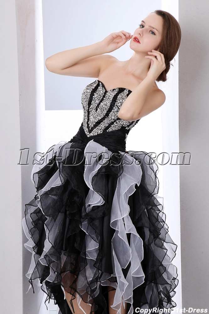 Pretty Multi Color Strapless High Low Ruffle Sweet 15