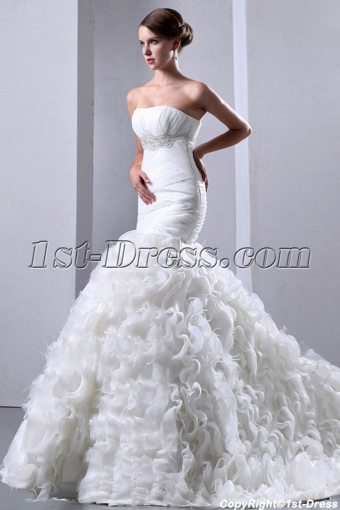 Pretty ruffle mermaid bridal gowns 2014 with ostrich for Wedding dress with ostrich feathers