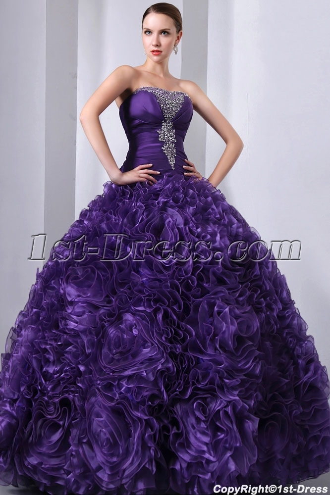 d098f3606dc Purple 3D Handmade Flowers Ruffled Quinceanera Gown 2014  US  255.00  Free  Shipping