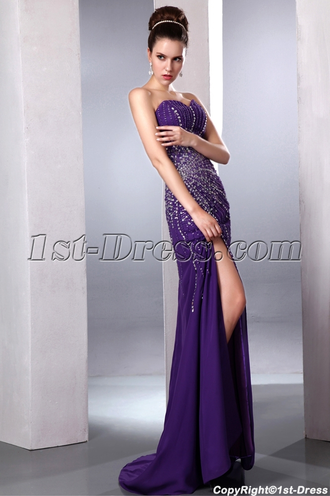 Purple Brilliant Sexy Slit Front Evening Cocktail Dress. Loading Zoom