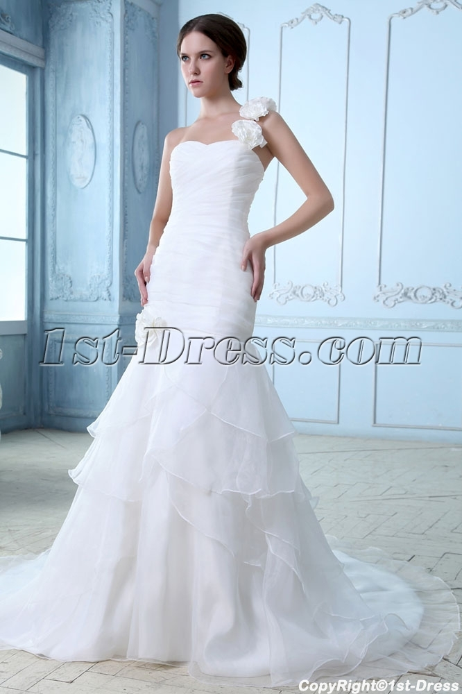 Romantic 2014 One Shoulder Wedding Gowns with Drop Waist:1st-dress.com