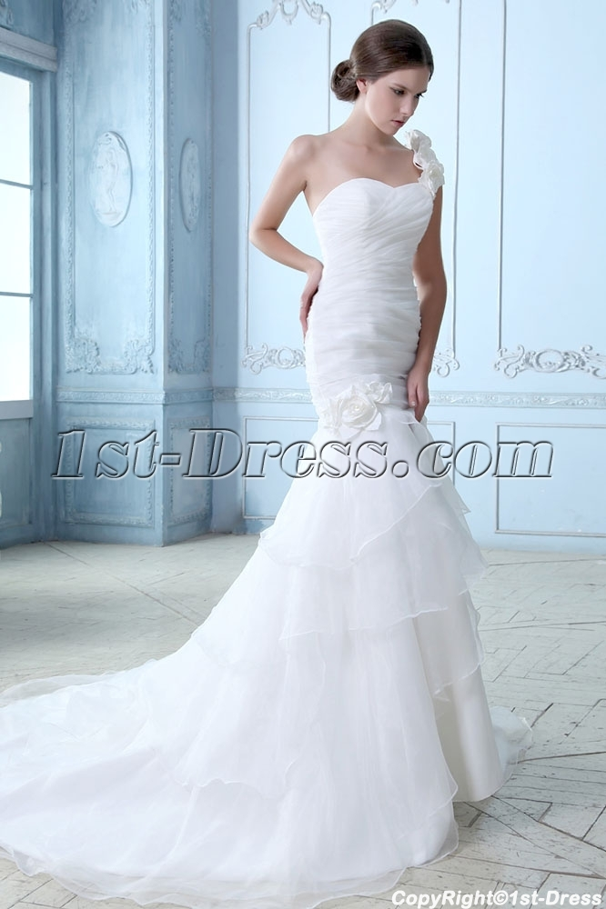 One Shoulder Wedding Dress.Romantic 2014 One Shoulder Wedding Gowns With Drop Waist